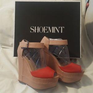 Shoemint Sophia Wedge Platform Nude & Red